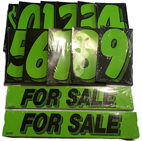 Vinyl Number   For Sale Decals 13 Dozen Car Lot Windshield Pricing Stickers  Black   Green