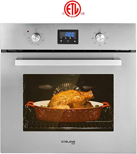 Stainless Steel Electric Wall Oven With Cooling Down Fan Wall Oven ETL Safety Certified /& Easy To Clean 9 Cooking Function Gasland chef ES609DS 24 Built-in Single Wall Oven 3 Layer Glass
