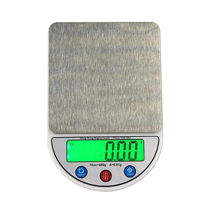 Songlin@yuan Dispositivo de Equilibrio de balanza portátil electrónico Digital de Alta precisión de 600 g x 0,01 g con Pantalla LCD de 4,5 Pulgadas, ...
