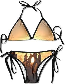 Volleyball Wallpaper Women's Tie Side Bottom Bikini Suits Two Pieces Swimwear