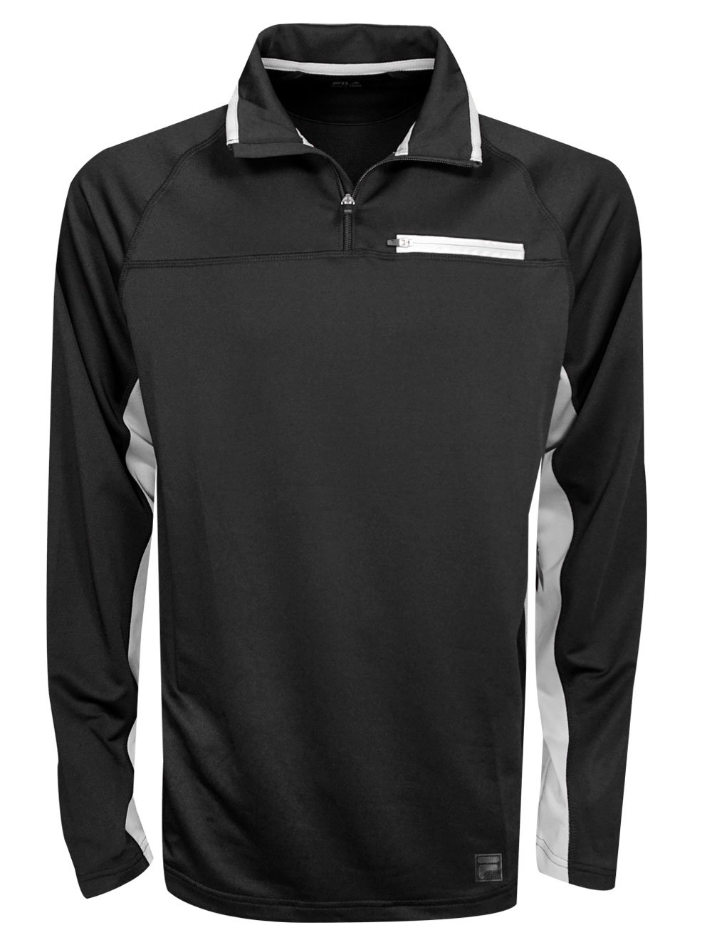 Fila Men's 1/4 Zip Pullover, Black/Highrise, SM by Fila