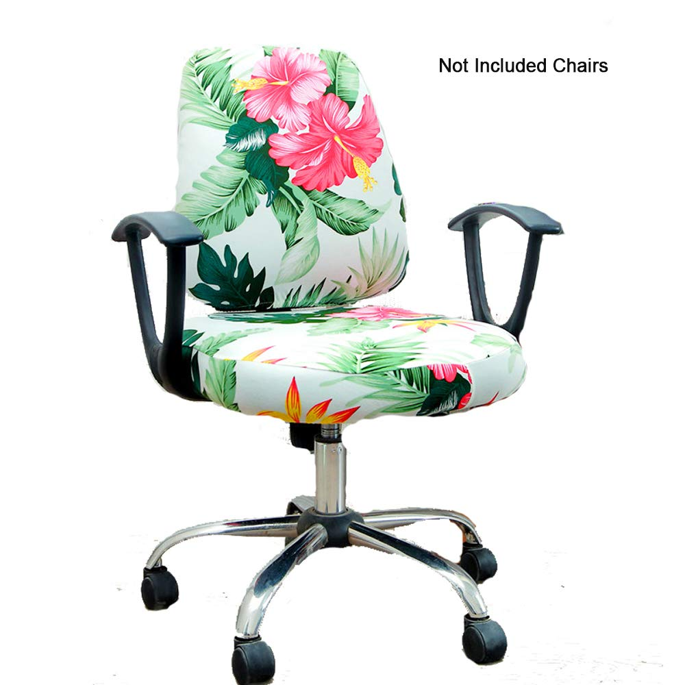 Phenomenal Gikidea Removable Office Chair Cover With Floral Pattern Elasticized Dorm Computer Rotating Chair Slipcover Washable Seat And Back Cover Tropical Creativecarmelina Interior Chair Design Creativecarmelinacom