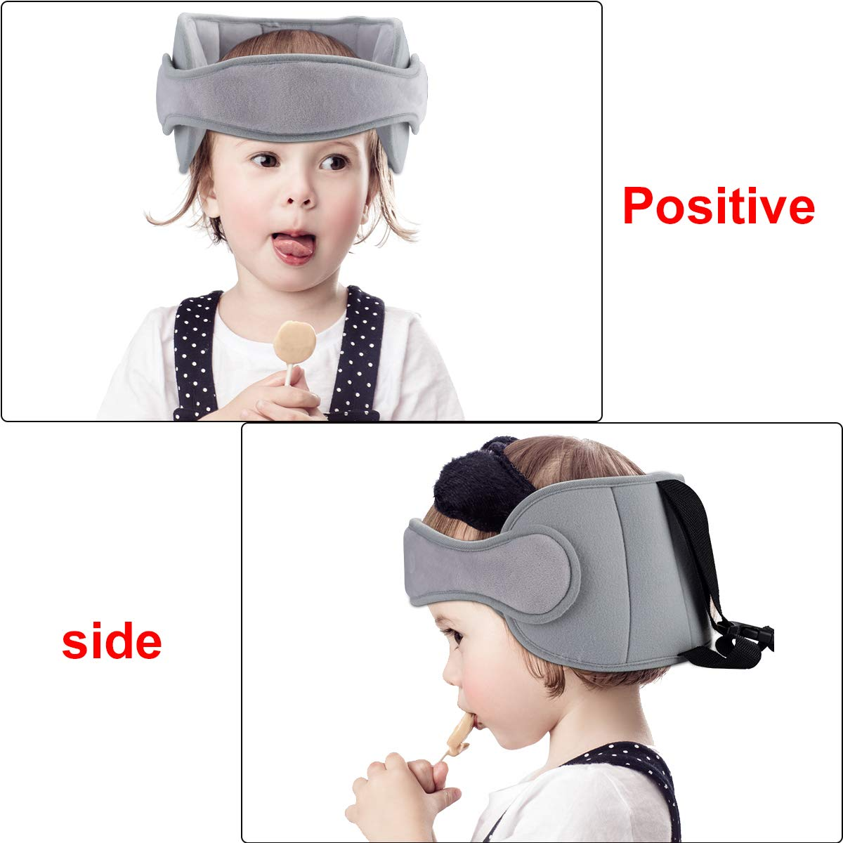 Grey A Comfortable Safe Sleep Solution Toddler Car Head Support Adjustable Band Safety Car Neck Relief for Baby Kids