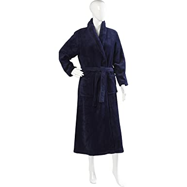 4ee04c7607ba8 Slenderella Ladies Luxurious Soft Fleece Long Dressing Gown Wrap Around  with Pockets XL (Navy Blue
