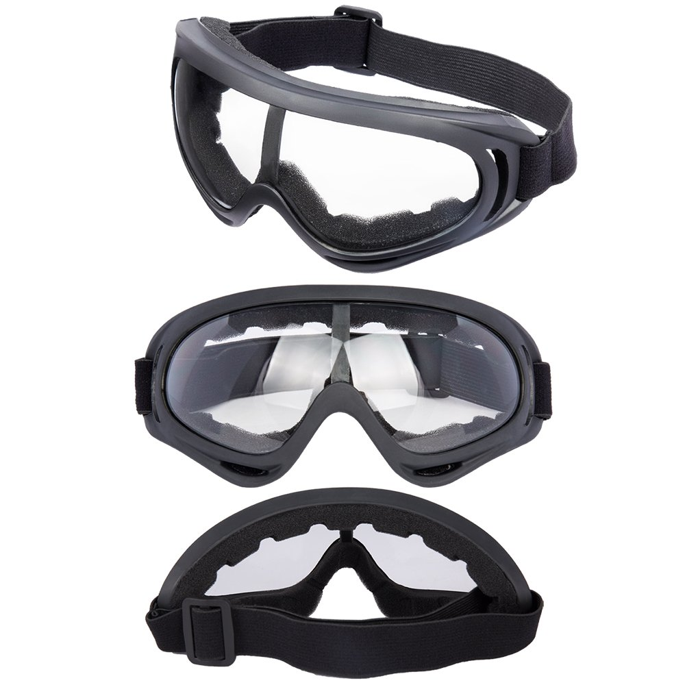LJDJ Motorcycle Goggles - Glasses Set of 2 - Dirt Bike ATV Motocross Anti-UV Adjustable Riding Offroad Protective Combat Tactical Military Goggles for Men Women Kids Youth Adult by LJDJ (Image #2)
