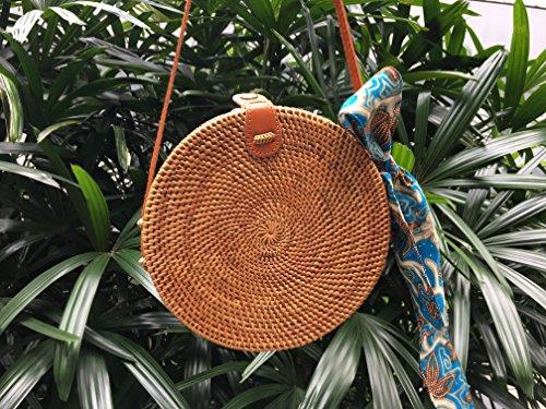 Rattan Bag, Round Rattan Basket Bag, Woven Bow Clip + FREE scarf, Bohemian round shoulder bag, Shoulder bag, Hand Woven Rattan Round Bag, Basket Bag, Round Bag, Straw Bag, Handmade - Clips And Brown Free Round