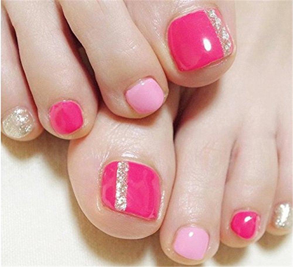 BloomingBoom 24 Pcs 12 Sizes Full Cover False Fake Nail Toes Toenail Artificial Design Nail Art Tips Woman Girl Elegant Gift Rose Silver Glitter