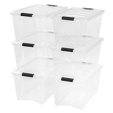 IRIS 53 Quart Stack & Pull Box, Clear, 6-Pack