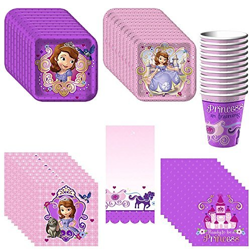 Disney Junior Sofia the First Deluxe Party Supply Pack Including Plates, Cups, Napkins and Tablecover for 16 Guests -