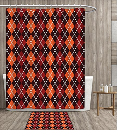 Red and Brown Shower Curtain customize Autumn Colors Retro Style Argyle Pattern Classical Old Fashion Scottish Irish Fabric Bathroom Set with Metal hook 72x72 inch Multicolor gift bath rug ()