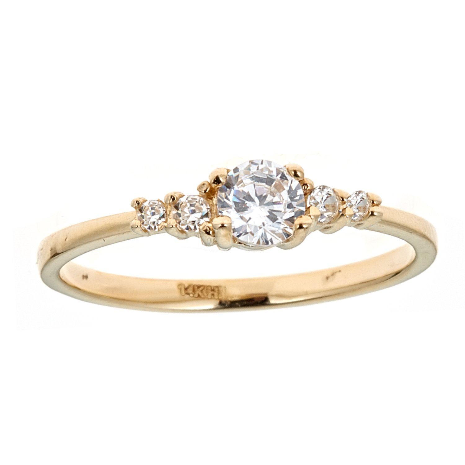 Ritastephens 14K Yellow Gold White Cubic Zirconia Girls Ring Small Band Size 3