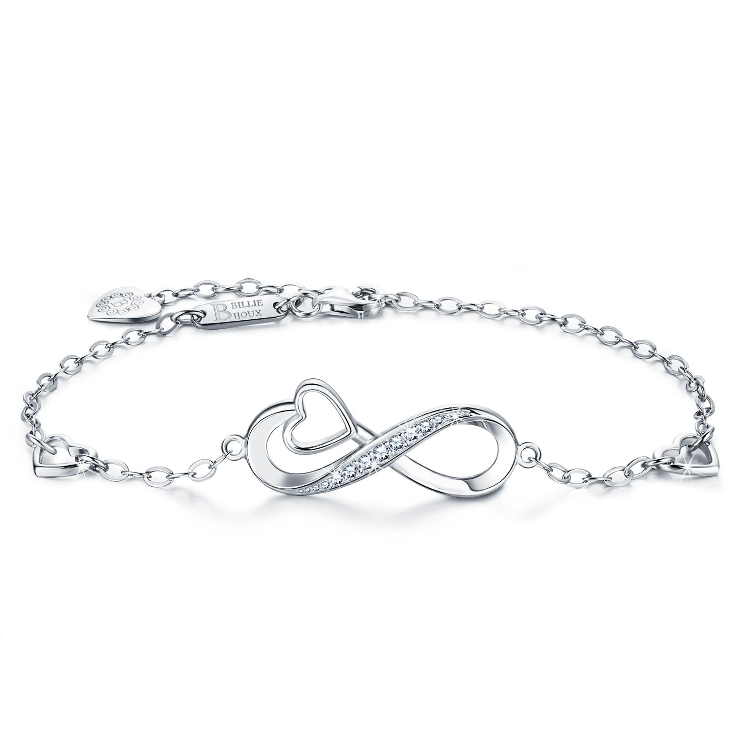 Billie Bijoux 925 Sterling Silver Infinity Heart Endless Love Symbol Charm Adjustable Bracelet White Gold Plated Women' s Gift for Christmas Day BBB001-A