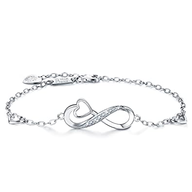 cc537a15e Billie Bijoux 925 Sterling Silver Infinity Heart Endless Love Symbol Charm  Adjustable Bracelet White Gold Plated Women' s Gift for Mother's Day