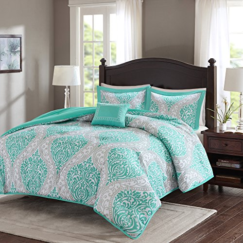 Comfort Spaces - Coco Comforter Set - 4 Piece - Teal and Grey - Printed Damask Pattern - Full/Queen size, comprises of 1 Comforter, 2 Shams, 1 Decorative Pillow