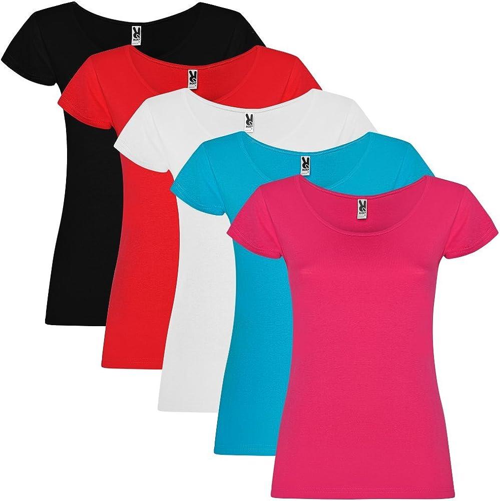 Dalim Pack de 5 Camisetas para Mujer, 100% Algodón, Guadalupe: Amazon.es: Ropa y accesorios