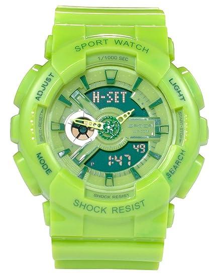 Niños reloj naranja multifunción Dual Dial analógico Digital Jelly Colorful relojes para niños verde: Amazon.es: Relojes