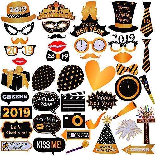 New Years Photo Booth Props– Pack of 43, Sturdy Cardstock | 2019 New Years Eve Photo Props Decorations Supplies | Great for Oscars Awards Themed New Year Party Decorations | -