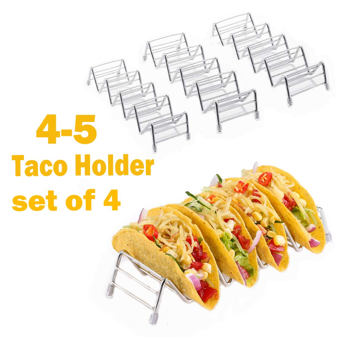 Taco Holder, 4-5 Taco Rack Holders, Good Holder Stand on Table, Hold 4 or 5 Hard or Soft Shell Taco, Safe for Baking as Truck Tray- Set of 4 (4-5 taco/ 4 pack)