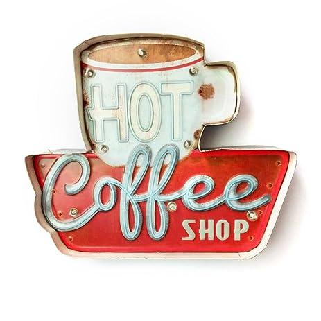 Amazon.com: Kerocy LED Metal Signs Retro Coffee Cup Led Light ...