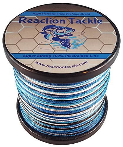 Reaction tackle high performance blue or green camouflage for Braided ice fishing line