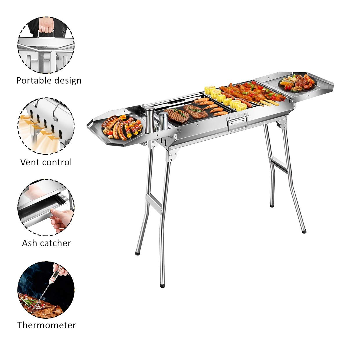 Goozegg 44-Inch Barbecue Charcoal BBQ Grill Heavy-Duty Lightweight Stainless Steel Portable Folding Smoker Grill Set for Outdoor Cooking, Backyards, Patios, Camping, Picnic, Parks