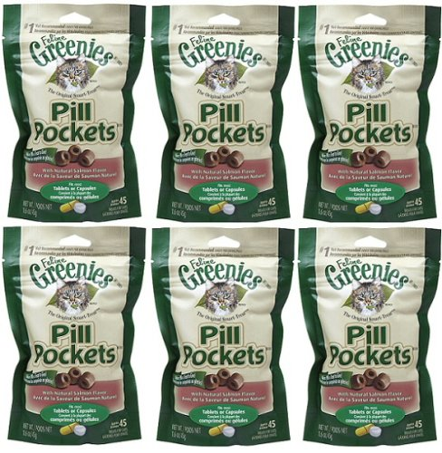 Greenies Pill Pockets for Cats Salmon Flavor, 45 ct - 6 Pack