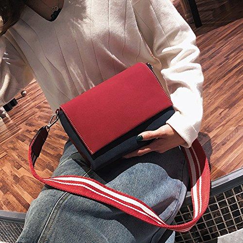 Negro OME color Hombro Bolso Con De amp;QIUMEI Rojo Amplia Bolsa Con Red blue wSUx04wn