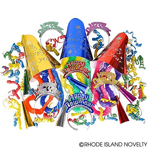 60+ Piece New Years Eve Party Pack! Includes Hats, Tiaras, Horns, Leis, Decorations! (New Years Eve Party City)