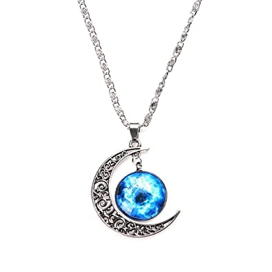 glass pendant cosmic galaxy moon dp necklace crescent chain blue