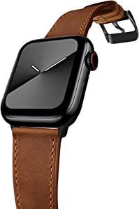 GZ GZHISY Leather Bands Compatible with Apple Watch Bands 38mm 40mm 42mm 44mm,Genuine Leather Vintage Replacement Men Women Strap Classic Bands Buckle Compatible with iWatch Series SE/6/5/4/3/2/1