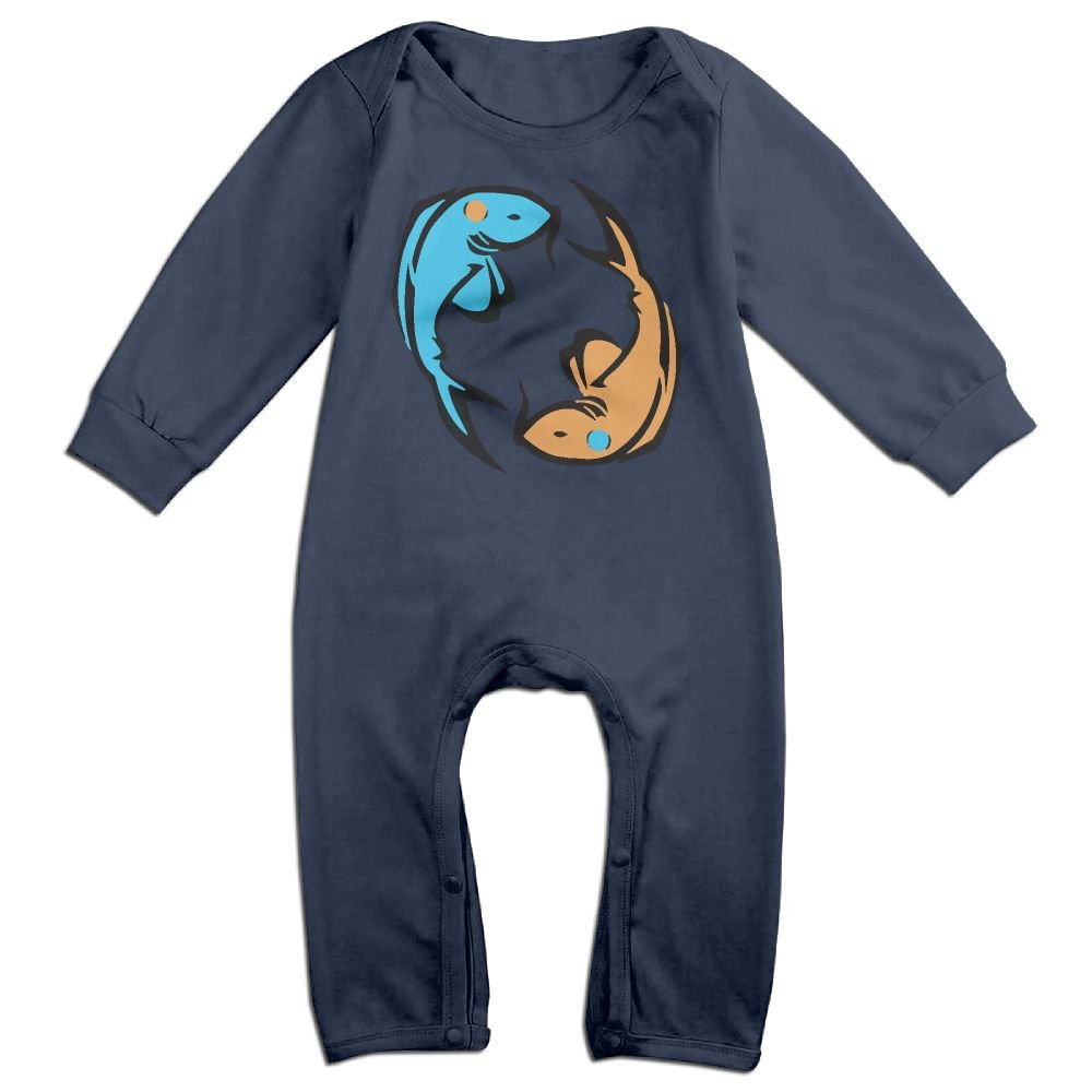 Mri-le1 Baby Girl Jumpsuit Yin Yang Fish Infant Long Sleeve Romper Jumpsuit
