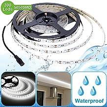 LE 12V Flexible Waterproof LED Strip Lights, 6000K Daylight White, 300 Units 5050 LEDs, 218lm/ft, Light Strips, Pack of 5M