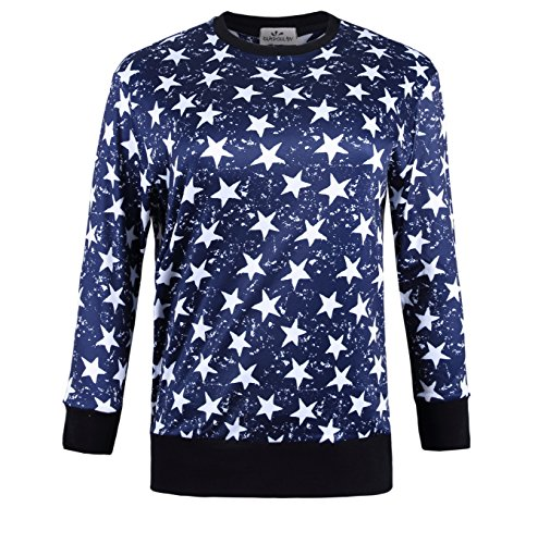 ZERDOCEAN Women's Plus Size Printed Fleece Lining Stretch Pullover T Shirt 101 2X