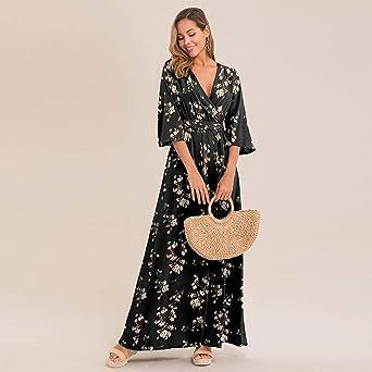 NPRADLA 2018 kobiety lato czeska tunika kwiatowa impreza plaża długa sukienka maxi sukienka letnia: Odzież