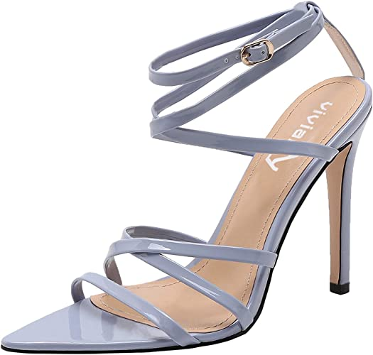 Nevera Womens Fashion Adjustable Pointed Toe Sandals Thin High Heel Party Wedding Shoes