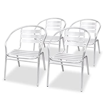 festnight 4 pcs chaise empilable de jardin en aluminium - Chaise Aluminium