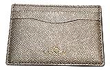 Coach Metallic Crossgrain Leather Card Case Platinum F23339