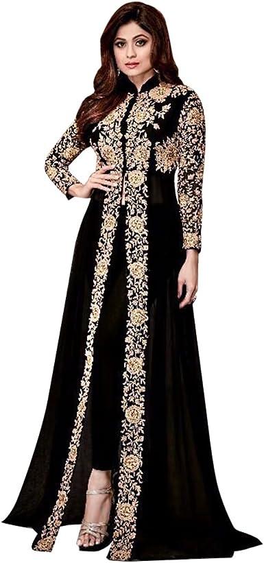 Amazon Com Shri Balaji Shamita Bollywood Designer Georgette Pant Style Salwar Kameez Indian Women Fashion Ready To Wear Bespoke Clothing