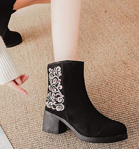 Tianrui Ladies Crown Short Boots Square Boot Women Embroidery Black Calf and Heel Shoes Mid xxraAn