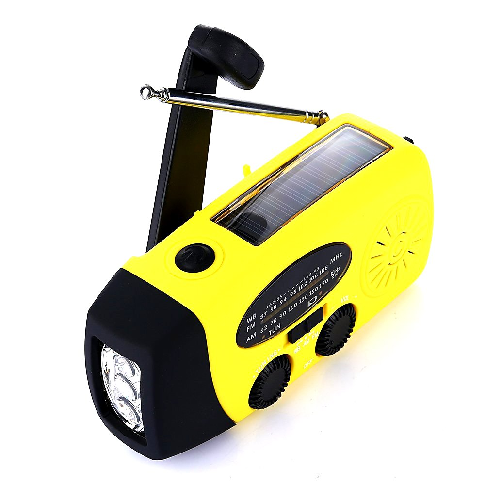 Emergency Hand Crank Self Powered AM/FM/WB(NOAA) Solar Weather Radio with LED Flashlight, 1000mAh Power Bank Charger Survival Kit for USB Devices, Smart Phones -Yellow
