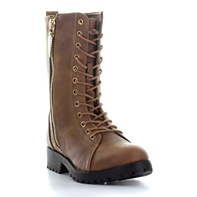6d651a4cb9c16 Seven7 Women s Combat Boot Lace-Up Round Toe Low Heel Boots Vegan Leather  Saddle 10