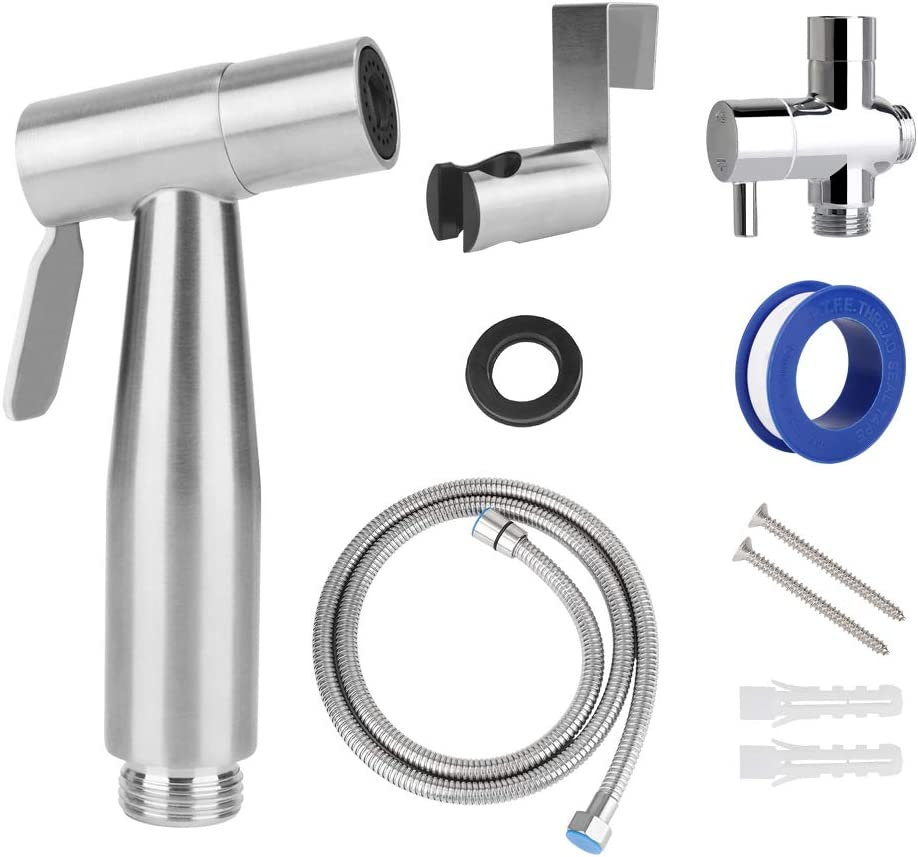 Bidets Bidet Parts Perfect For Family Use Premium Stainless Steel Water Pressure Control Jet Sprayer Set For Bathroom Baby Cloth Feminine Hygiene Pet With Complete Accessories Slowton Handheld Bidet Toilet Sprayer