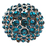 ACCESSORIESFOREVER Women Modern Fashion Charming Duo Tone Dome Round Crystal Pave Stretch Ring R77 Blue