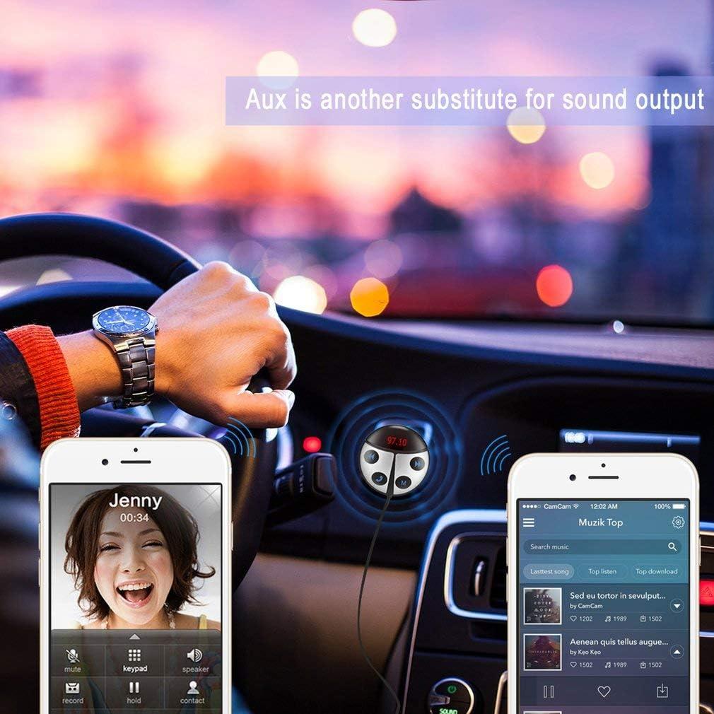 leoboone Belle Forme de Coccinelle sans Fil Bluetooth /émetteur r/écepteur Bluetooth Car Kit Mains Libres FM Modulator avec /écran LED