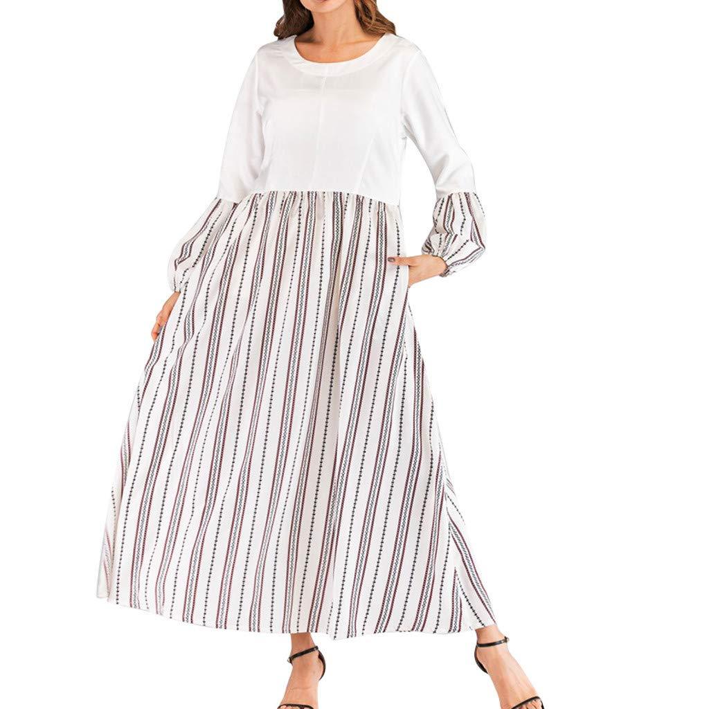 Serzul Women Summer Beach Loose Dresses O-Neck Short Sleeve Color Block Dress Striped Print Muslim Long Dress White