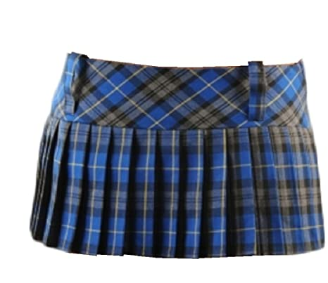 CRAZY CHICK Tartán Mini Falda 12 de Longitud (30, 5 cm) (10, Azul ...