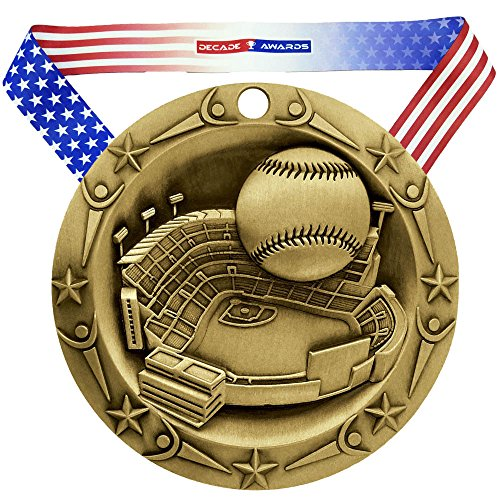 - Decade Awards ⚾ Baseball World Class Medal - Gold ⚾ WCM Base Ball First Place Award | Includes Stars and Stripes American Flag Neck Ribbon | 3 Inch Wide