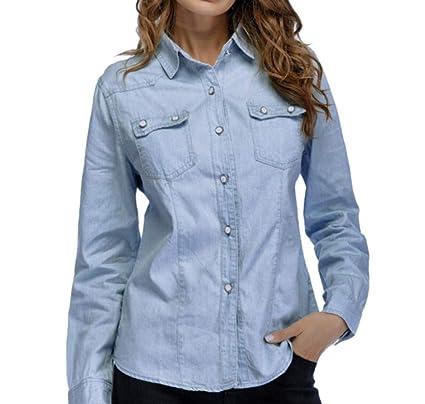 f5f91338ca577 Amazon.com  ZTTONE Denim Blouse
