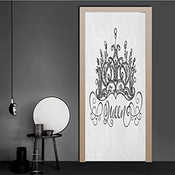 Amazon Com Queen Wallpaper Hand Drawn Crown With Queen Lettering Baroque Style Ancient Elements Calligraphy Wrap Murals Wall Stickers Black And White For Home Decoration 23 X 70 Baby