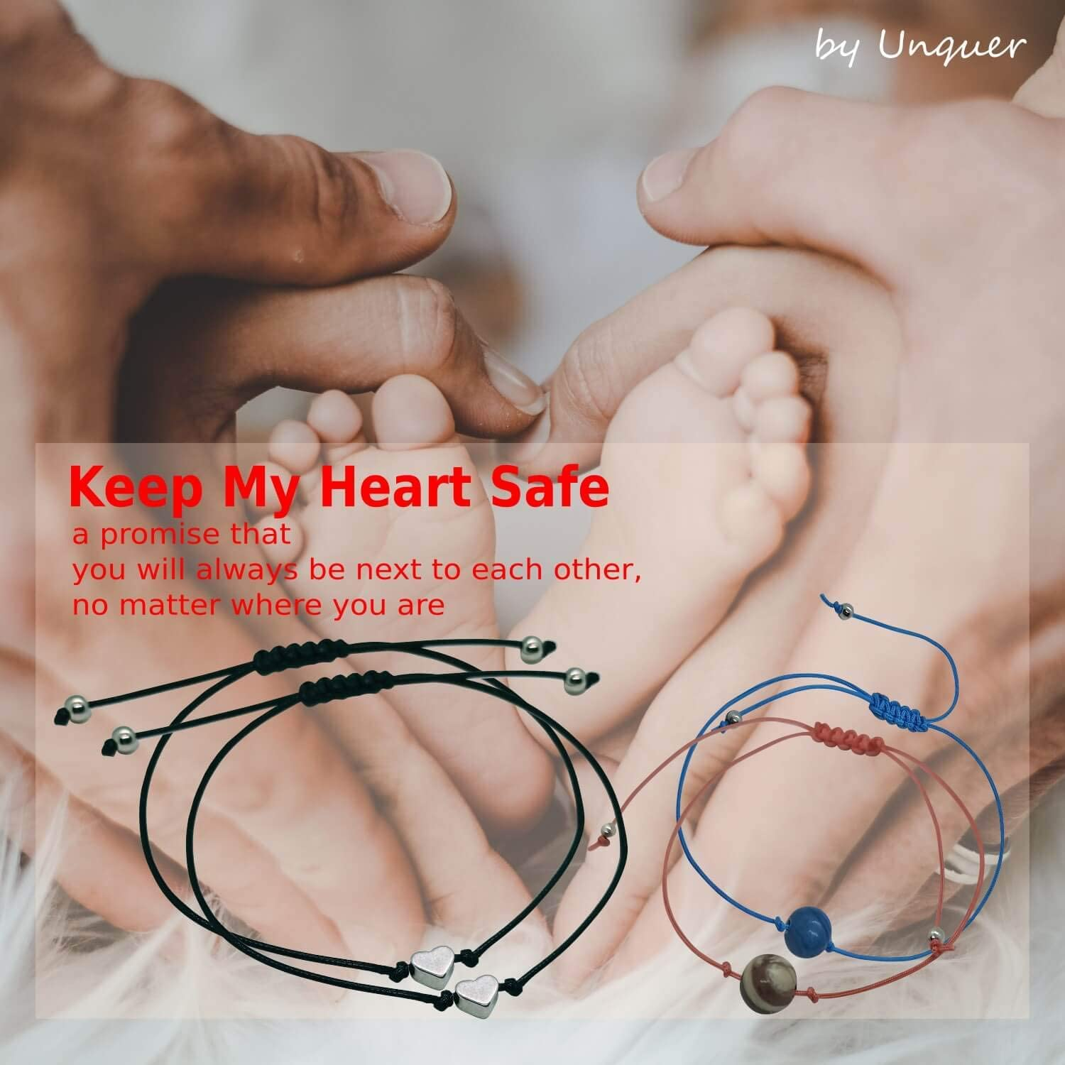 UNQUER 2 Pairs Pinky Promise Distance Matching Bracelets-for Best Friends Couples Family Friendship Bracelets Relationship Bracelets for Couples Him and Her Teen Girls Adjustable Waterproof Cord